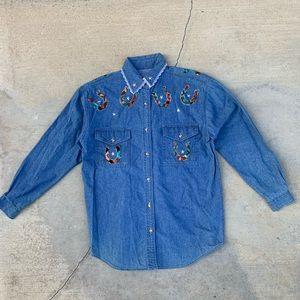 Vintage 80s Western Horseshoe Denim Shirt